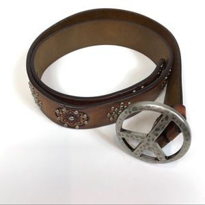 Brighton Peace Sign Hippie Studded Leather Belt